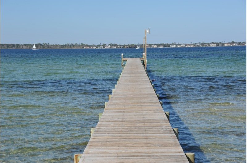 Tale a stroll on the dock at Baywatch Condos in Pensacola Beach Florida
