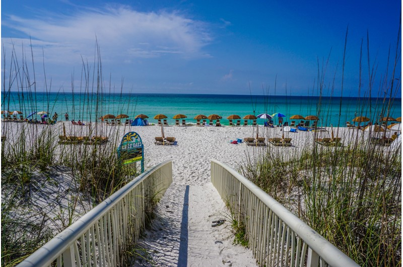 Walk right out onto the beach from Beach Club Resort and Spa in Pensacola Beach FL