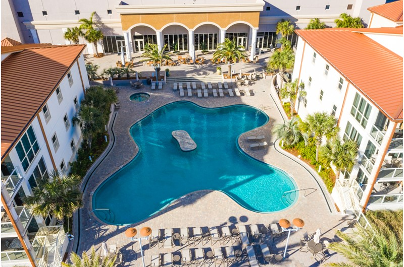 Birdseye view of the pool at Beach Club Resort and Spa in Pensacola Beach FL