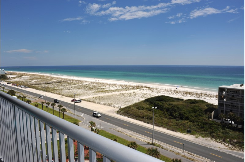 Enjoy wonderful views from you balcony at Emerald Dolphin in Pensacola Beach Florida