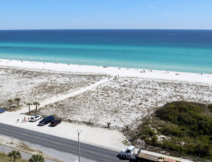 View the Gulf from the balcony at Emerald Dolphin in Pensacola Beach Florida