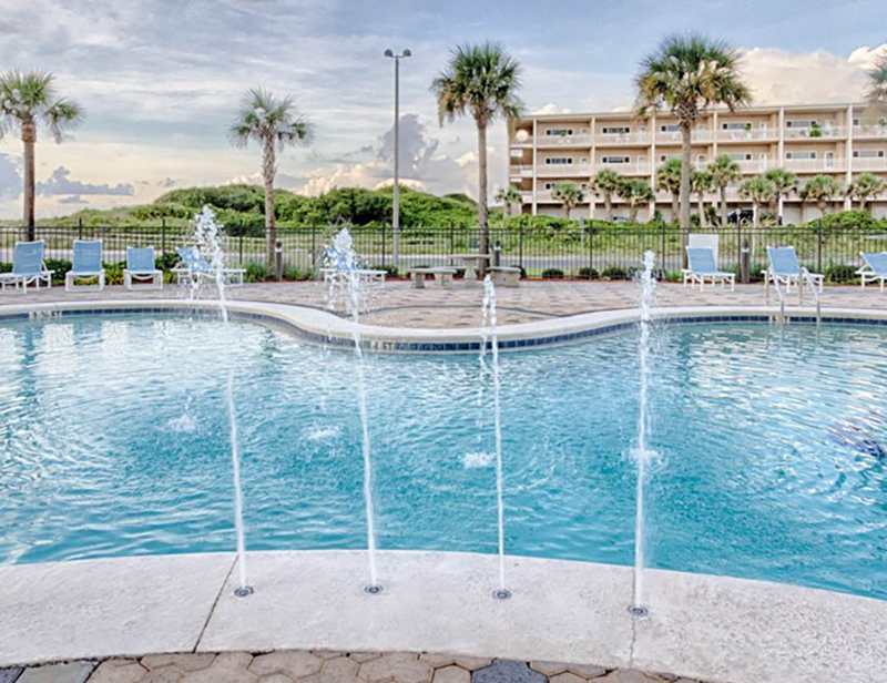 The pool is as pretty to look at as it is to swim in at Emerald Dolphin in Pensacola Beach Florida