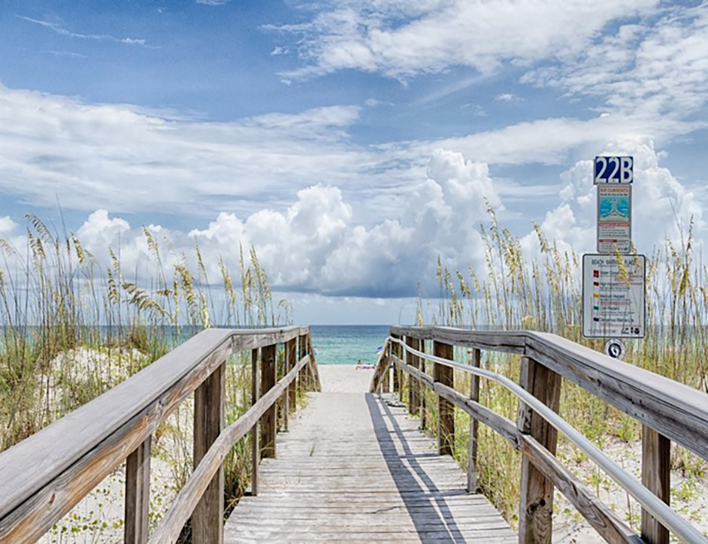 This crosswalk makes it easy to get to the beach from Emerald Dolphin in Pensacola Beach Florida