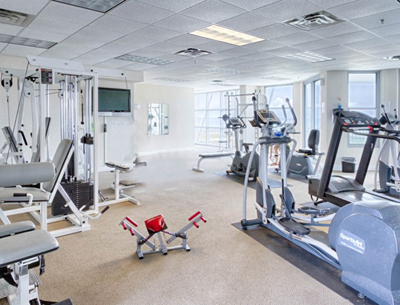 It will be easy to get your workout done in the gym at Emerald Dolphin in Pensacola Beach Florida