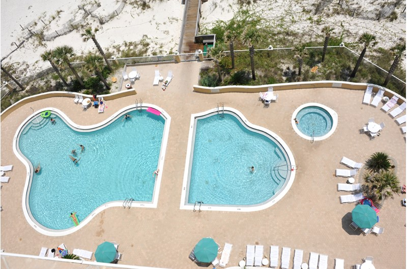 Bird's eye view of the lovely pool at Emerald Isle in Pensacola Beach Florida