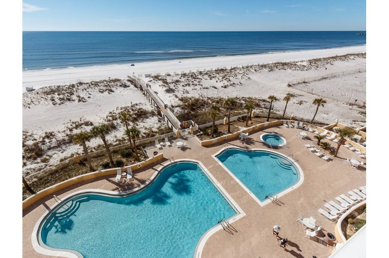 Huge pool area at Emerald Isle in Pensacola Beach Florida