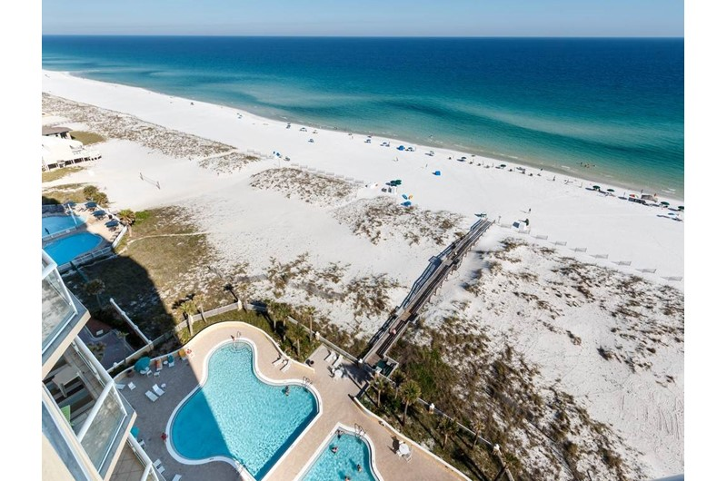 Birds eye view of beach and pool from Emerald Isle in Pensacola Beach Florida