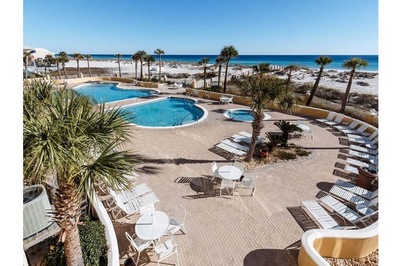 Nice view of the pool area and beach at Emerald Isle in Pensacola Beach Florida