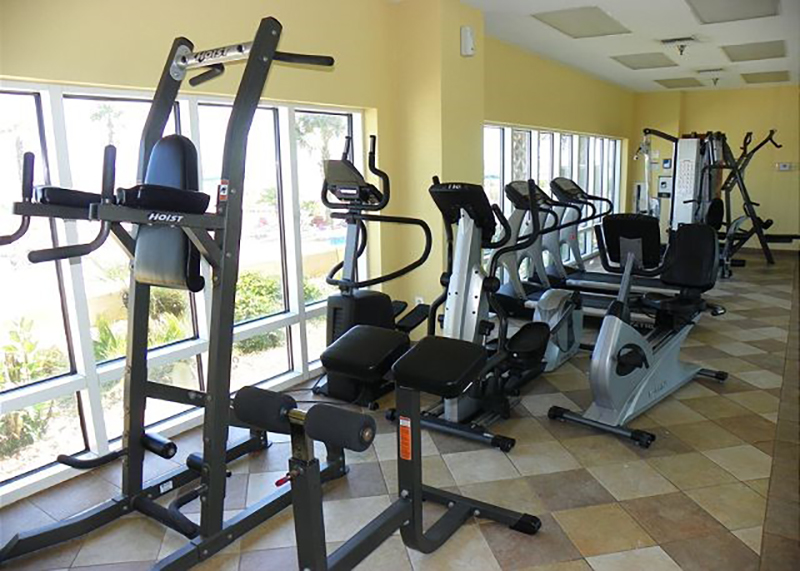 Enjoy a great workout at the nice gym at Emerald Isle in Pensacola Beach FL