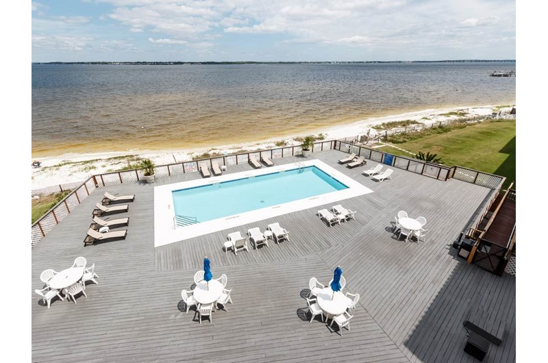 Pool is directly on the beach at Palm Beach Club Pensacola FL