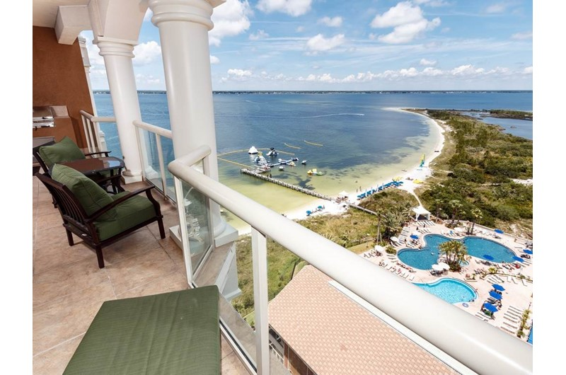View pool and beach below at Portofino in Pensacola Beach Florida