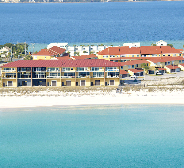 Aerial view of the beach and Gulf at Regency Cabanas in Pensacola Beach Florida