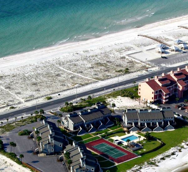 San DeLuna Townhomes are directly beach front in Pensacola Beach Florida
