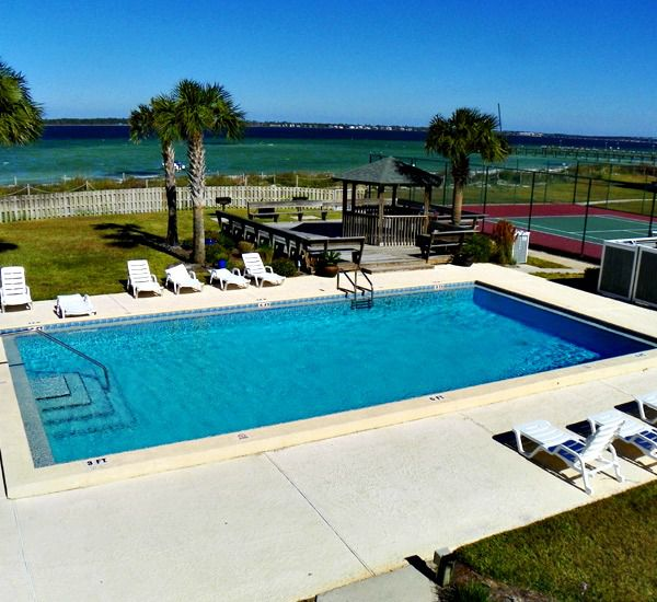 Heated pool at the San Deluna Townhomes at Pensacola Beach Florida.
