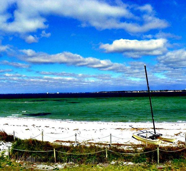 Beach view from dunes at San DeLuna Townhomes at Pensacola Beach Florida.