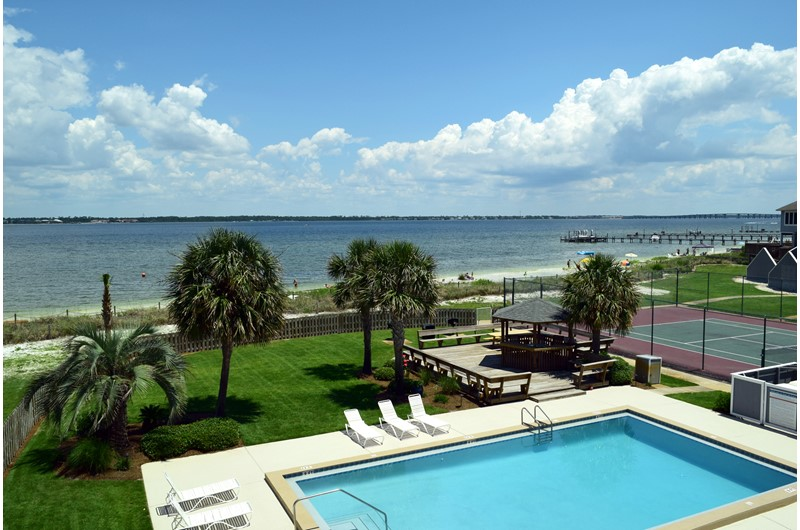See the beach from the pool at Regency Cabanas in Pensacola Beach Florida