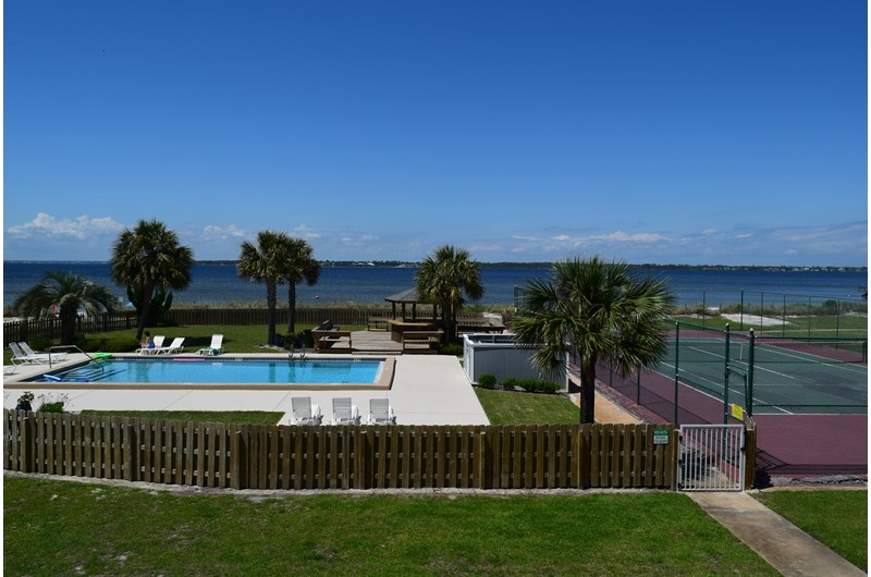 Pool and tennis courts at Regency Cabanas in Pensacola Beach Florida