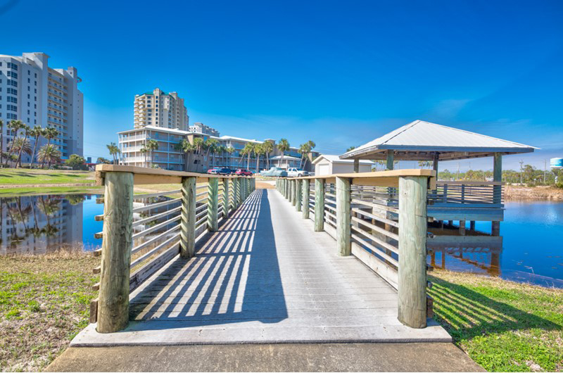 Take a stroll across the beach lake at Grand Caribbean in Perdido Key FL