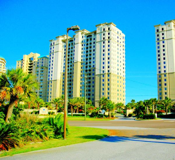 Another exterior view from the  street at Indigo Condo Perdido Key Florida