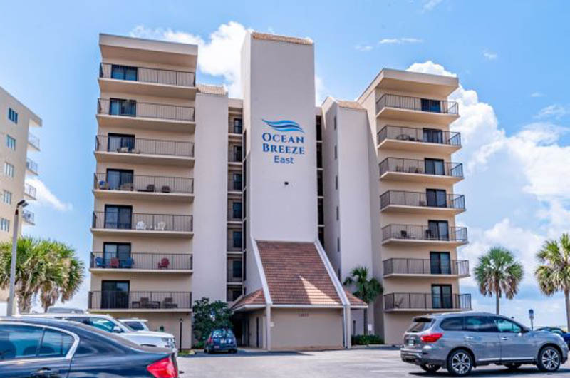 View of the front of Ocean Breeze East Condos from Perdido Key Drive