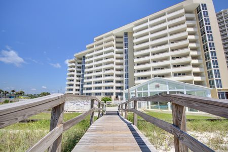 This crosswalk makes it easy to go from building to beach at Perdido Sun Condominiums in Perdido Key Florida