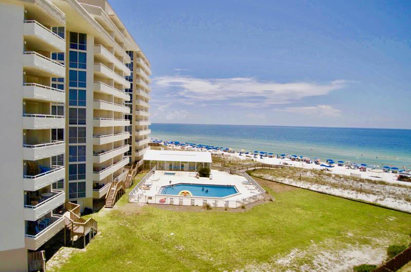 Great view of the pool and beach at Perdido Sun Condominiums in Perdido Key Florida