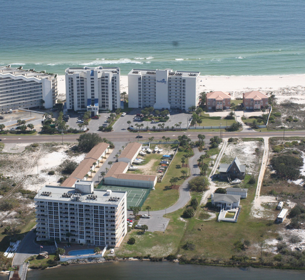 Birds-eye view of the grounds beach and Gulf at Seaspray Perdido Key