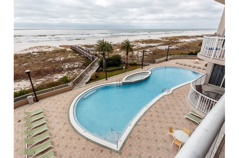 The pool is directly on the beach at Spanish Key in Perdido Key Florida