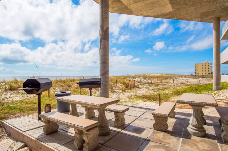 Grilling area at Windemere Condominiums in Perdido Key Florida