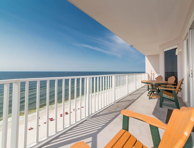 Hang out on the deck and take in the view at Windemere Condominiums in Perdido Key Florida