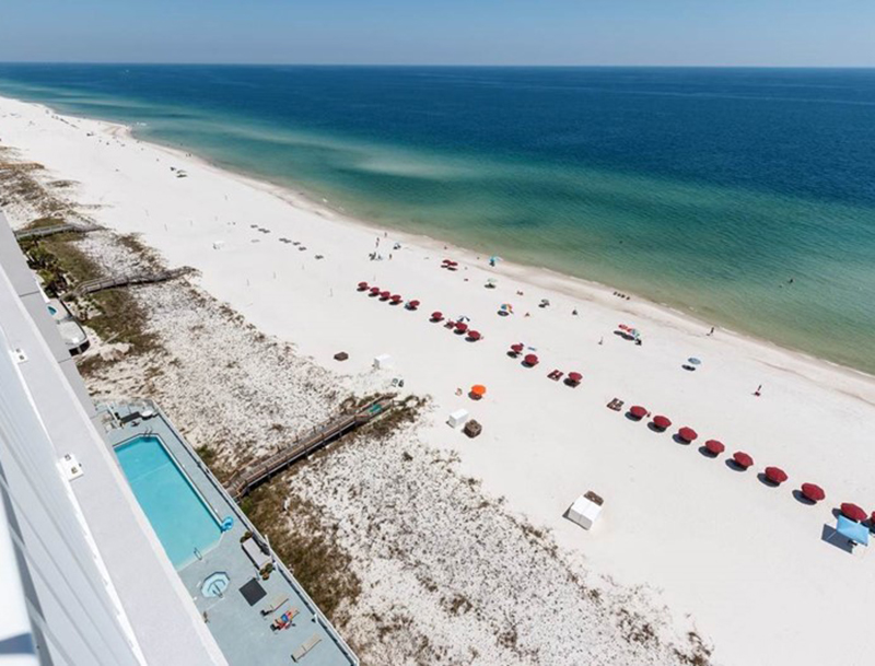 Great view of the Gulf and pool at Windemere Condominiums in Perdido Key Florida