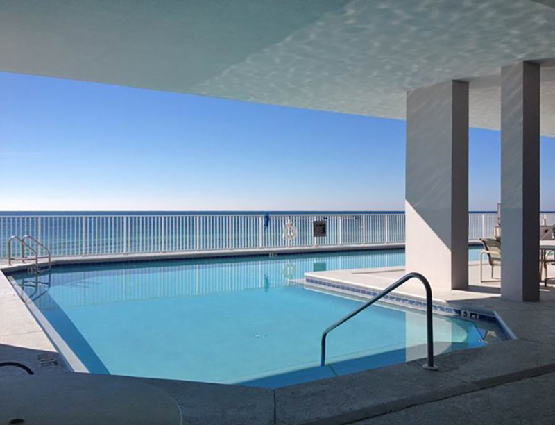 This pool gives you the option of sun or shade at Windemere Condominiums in Perdido Key Florida