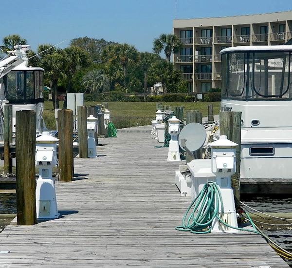 Boat dock at private marina at Pirates' Bay Guest Chambers & Marina in Fort Walton Florida