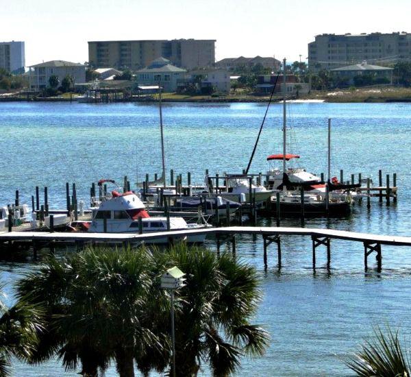 View of dock at the marina at Pirates' Bay Guest Chambers & Marina in Fort Walton Florida