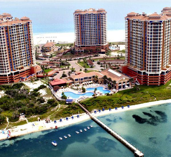 Aerial view of Portofino Island Resort in Pensacola Beach Florida