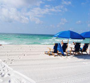 Eight miles of white sand beach at the Portofino Island Resort on Pensacola Beach.