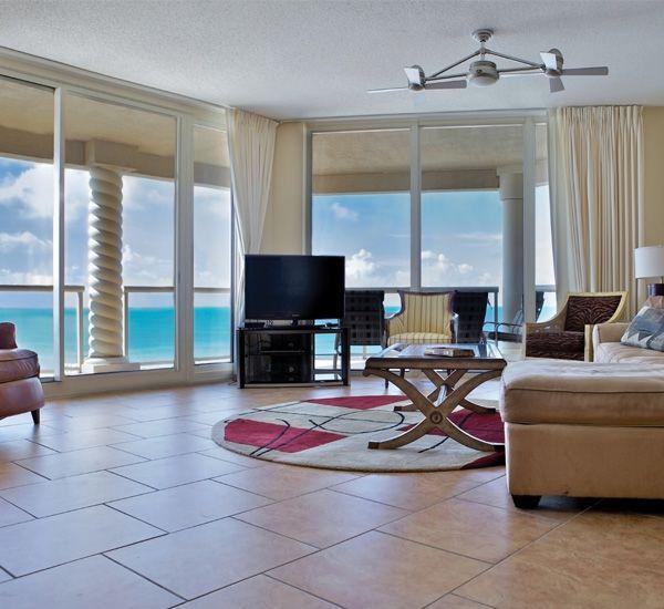 Floor to ceiling windows at Portofino Island Resort in Pensacola Beach Florida