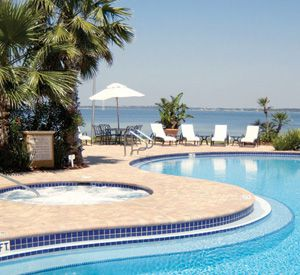 Whirlpool and pool overlooking the Gulf of Mexico at the Portofino Island Resort on Pensacola Beach.
