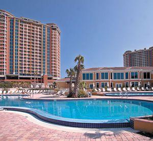 Terrace surrounding the pool at Portofino Island Resort on Pensacola Beach.