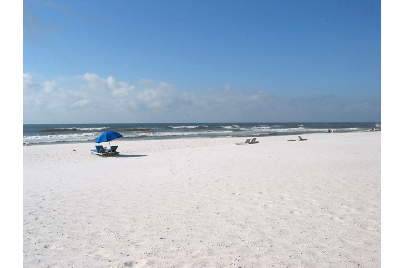 Royal Palms has snow white sand right outside your unit in Gulf Shores AL