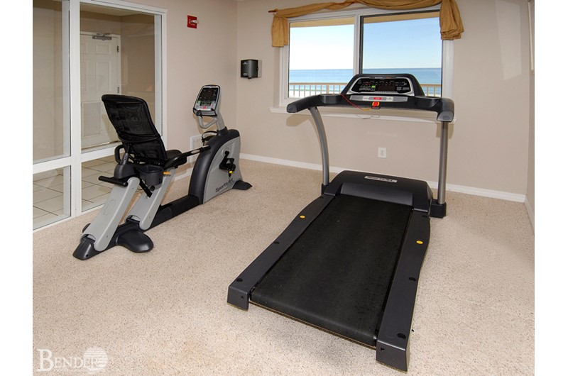 Stay in shape in the workout room at Royal Palms in Gulf Shores AL