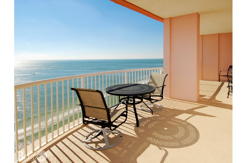 Enjoy lounging on your oversized balcony at Royal Palms in Gulf Shores AL