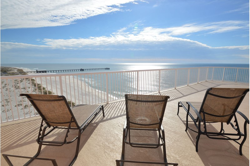 View the gorgeous Gulf of Mexico and the pier from you balcony at Royal Palms in Gulf Shores AL