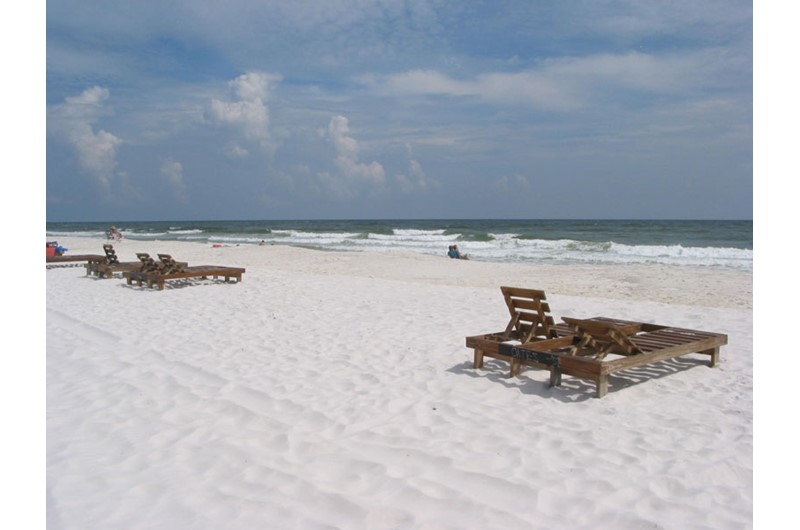 Enjoy the sugar white sands outside your condo at Sandpiper in Gulf Shores AL