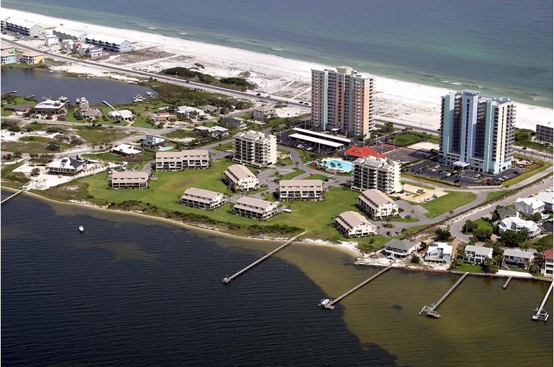 Bird's eye view of Santa Rosa Dunes in Pensacola Beach Florida