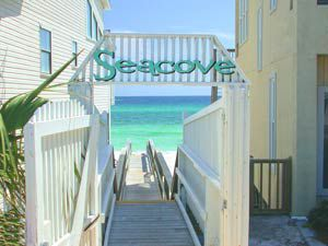 Beach walkway at Seacove Condominium and Townhomes in Destin Florida