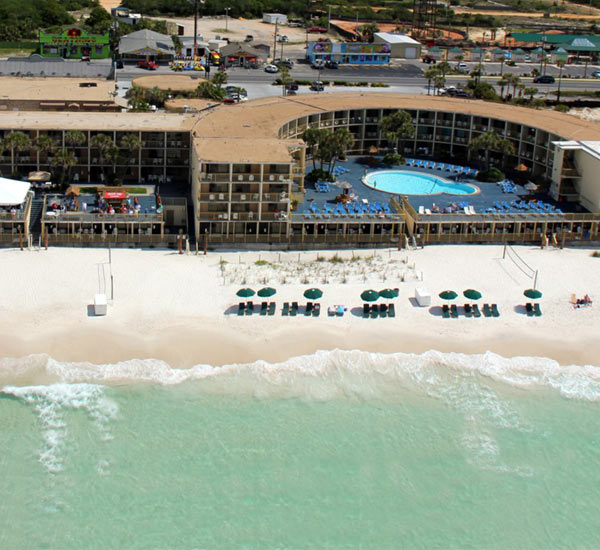 Aerial view of The Chateau in Panama City Beach FL