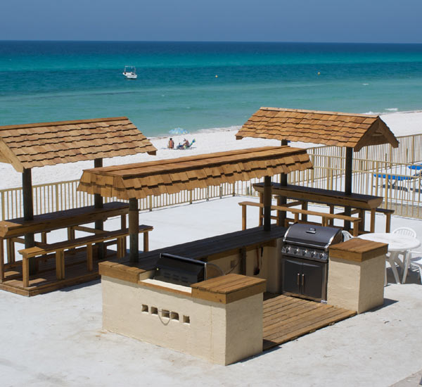 Beachfront grilling area at The Chateau in Panama City Beach FL