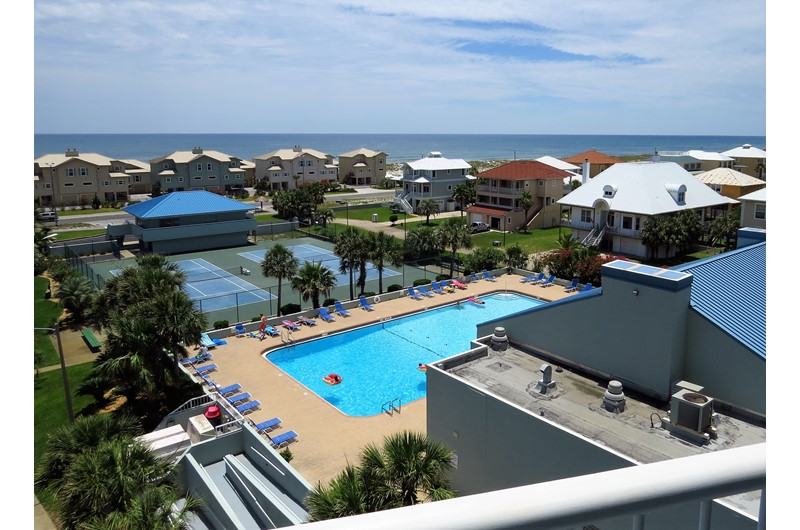 Pool view from Tristan Towers in Pensacolo Beach Florida