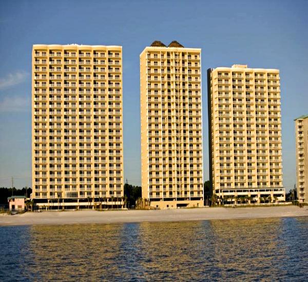 Exterior of beachfront Twin Palms in Panama City Beach